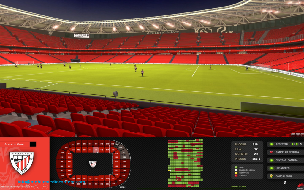 Aplicación de la venta de ticketing 3D en San Mamés, estadio del Athletic Club